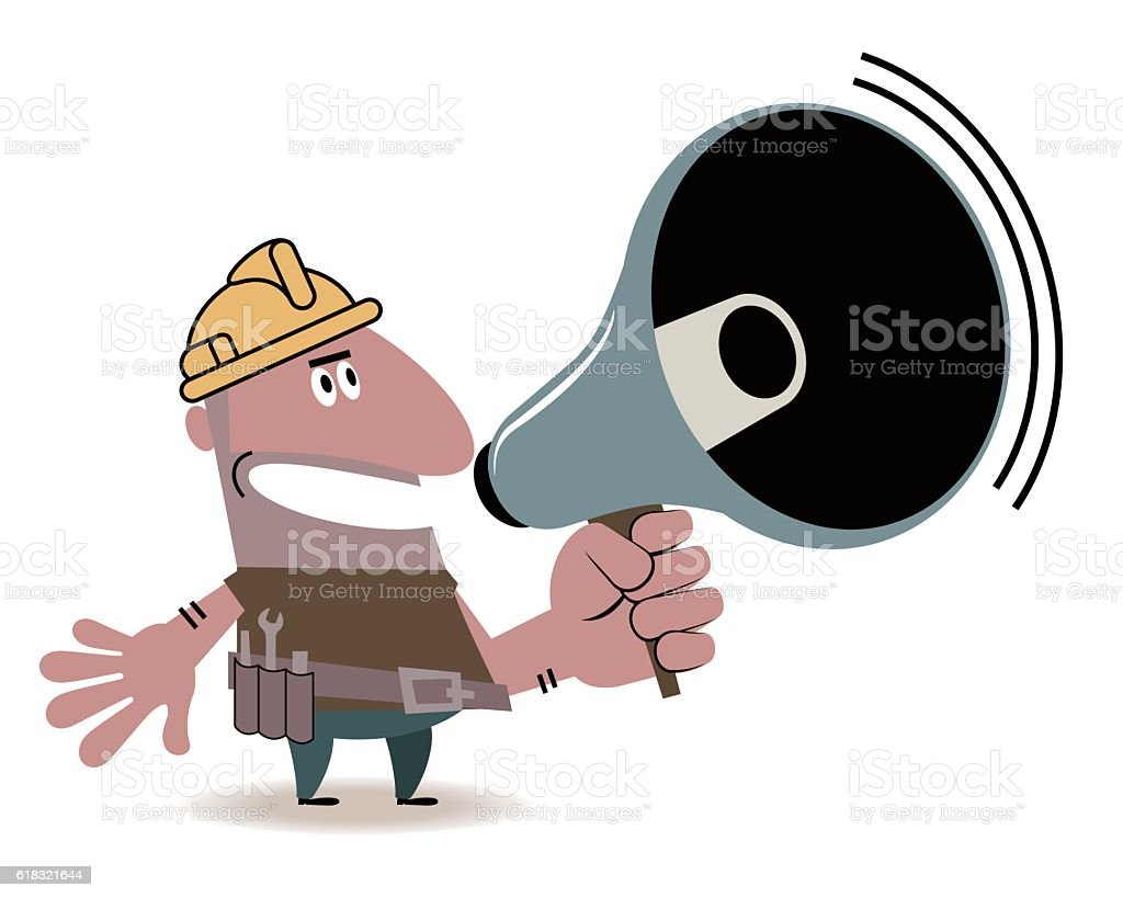 Hispanic Construction Worker with megaphone vector art illustration