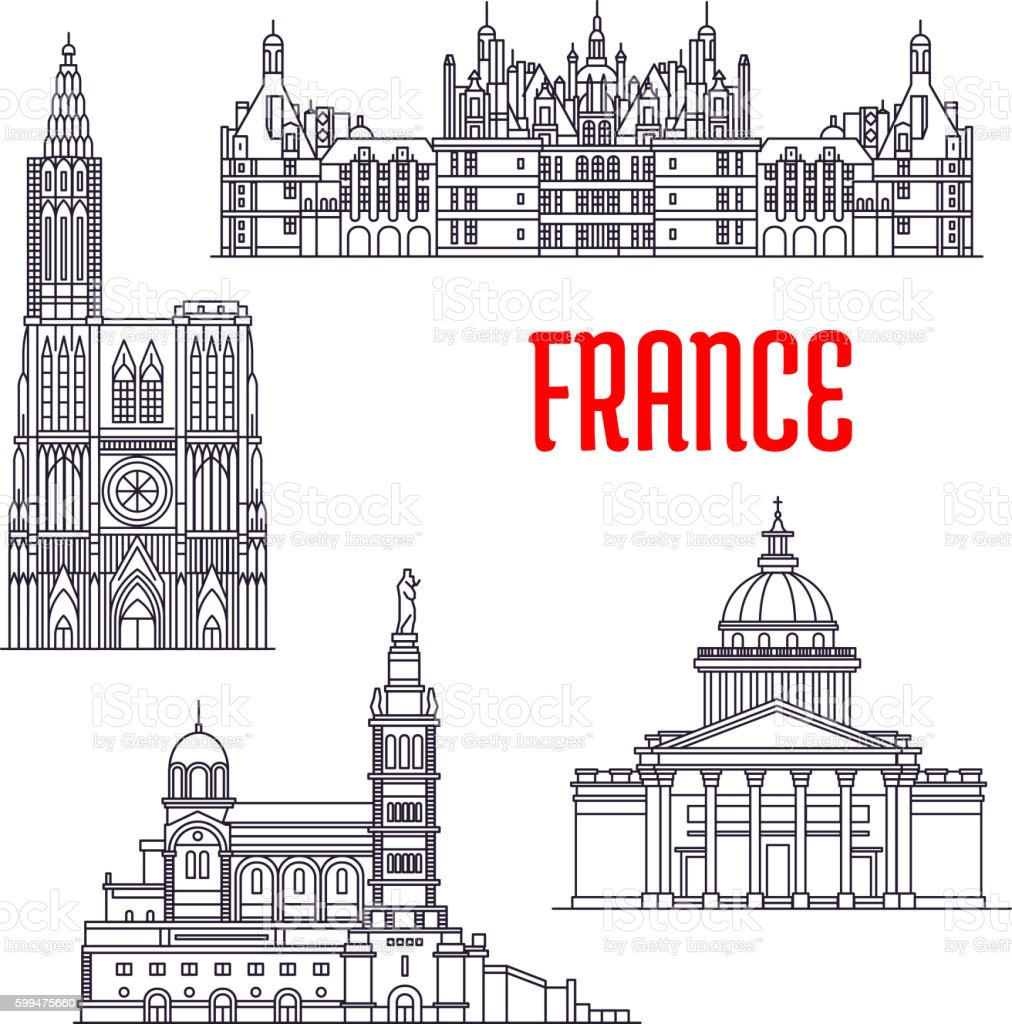 Historic buildings and sightseeings of France vector art illustration