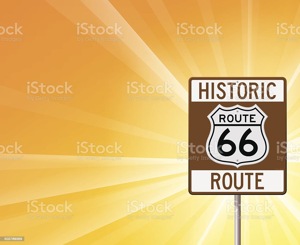 Historic Route 66 on Yellow royalty-free stock vector art