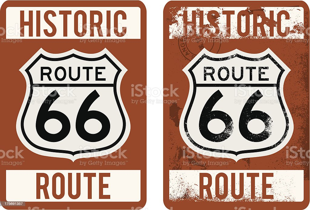 Historic Route 66 Sign vector art illustration