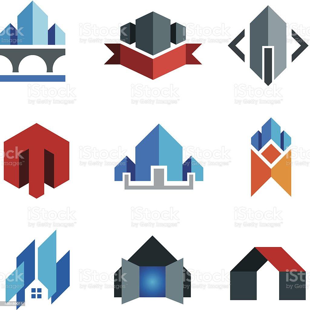 historic virtual building construction architecture company label smart house logo vector art illustration