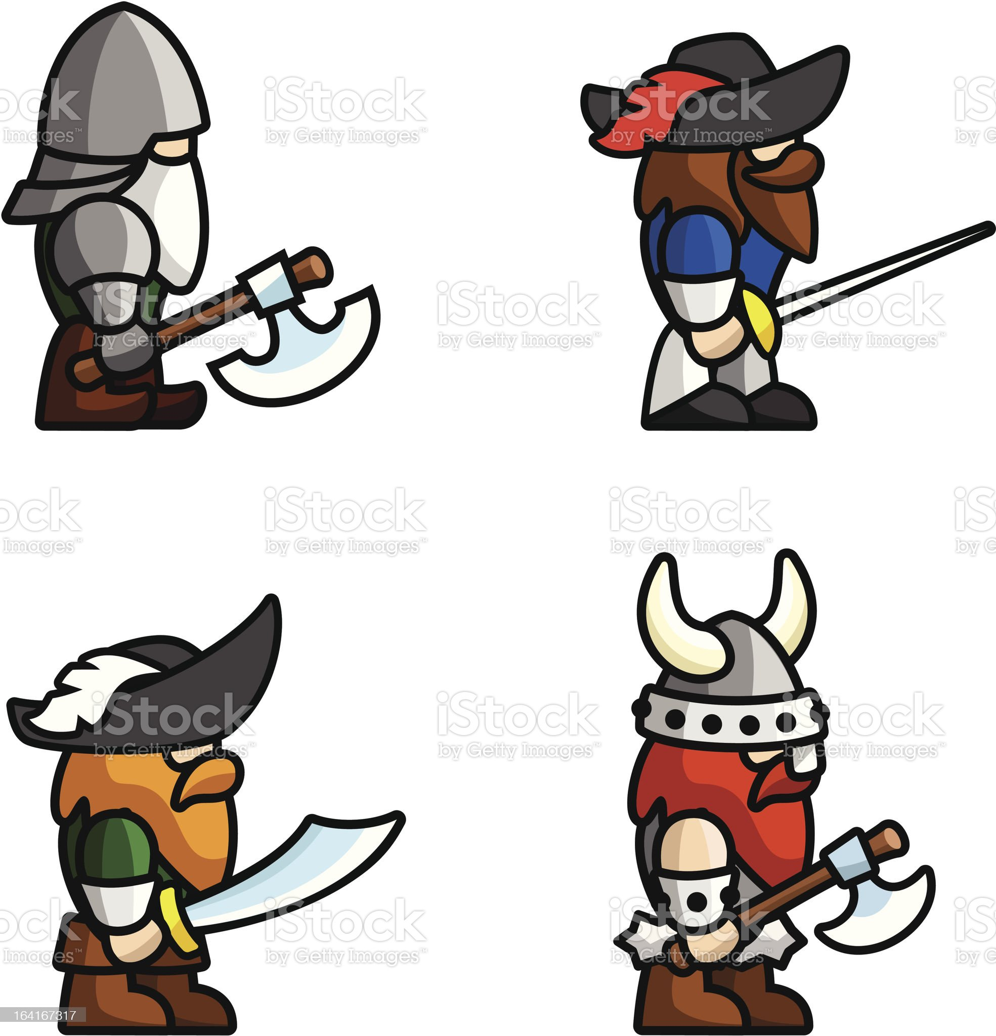Historical battle characters royalty-free stock vector art