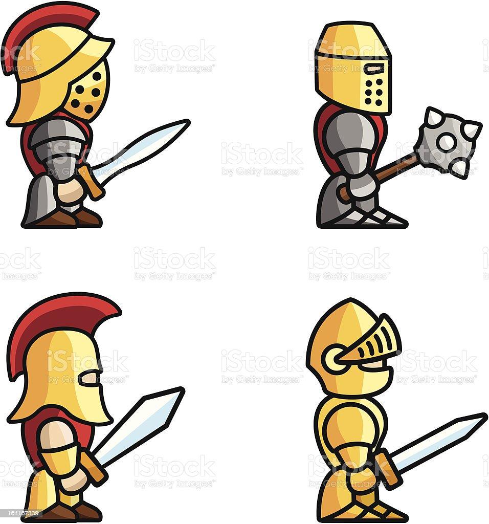 Historical battle characters vector art illustration