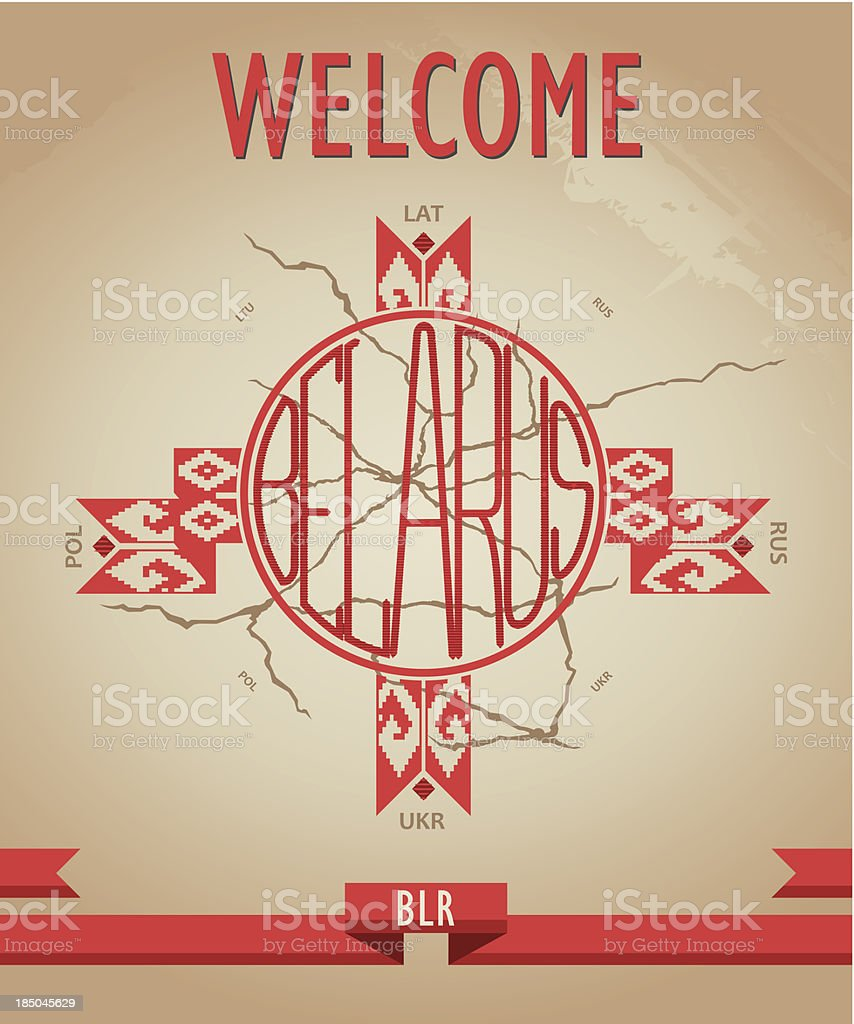 Historical, grunge poster welcome to Belarus with ornament vector art illustration