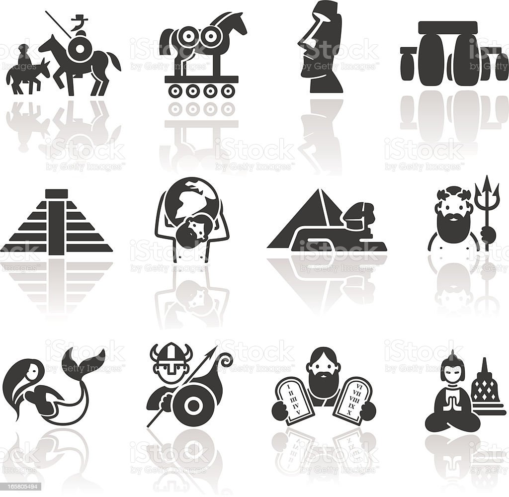 Historical icons vector art illustration