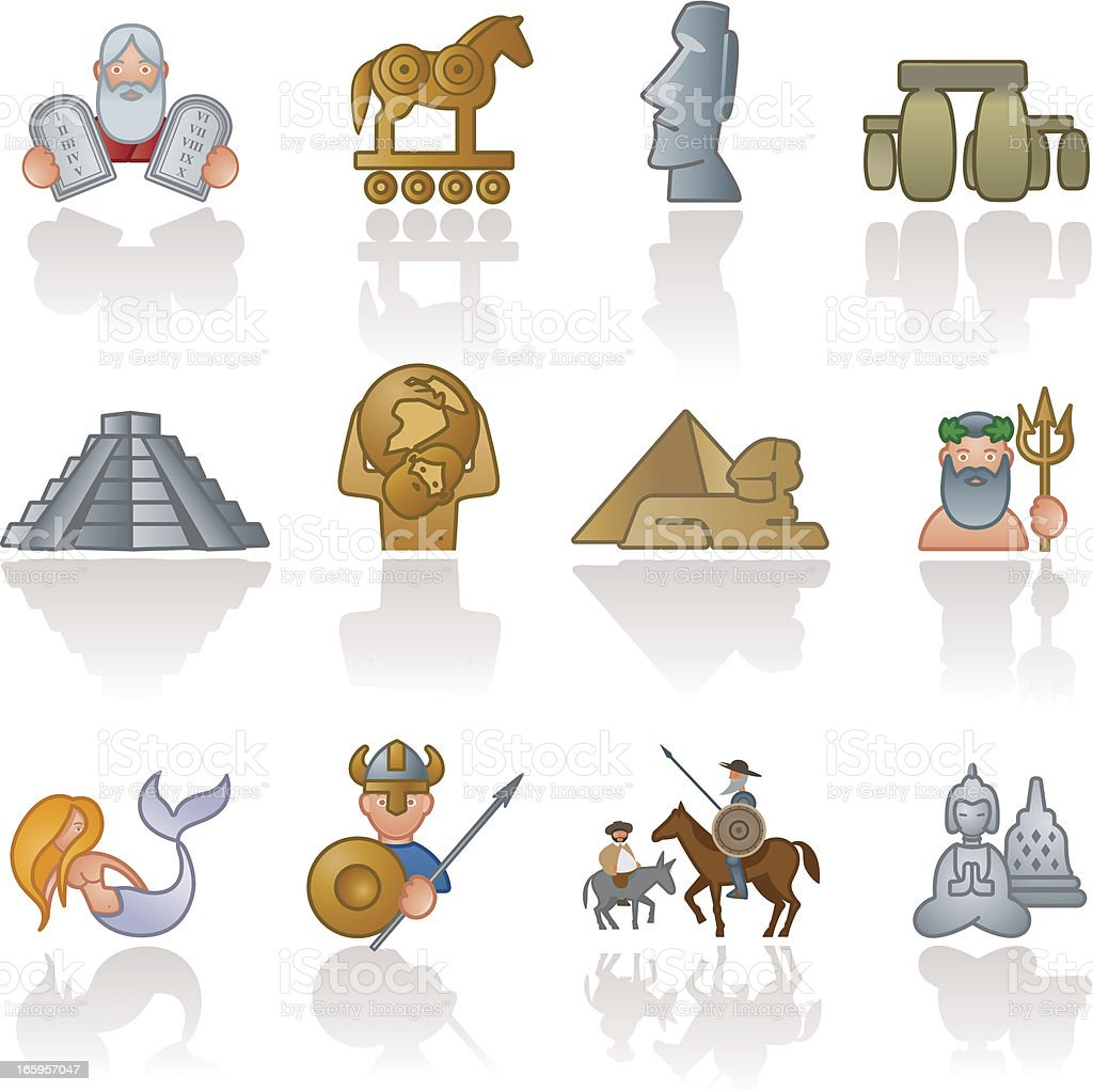 Historical icons royalty-free stock vector art