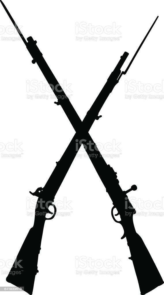 Historical military rifles vector art illustration