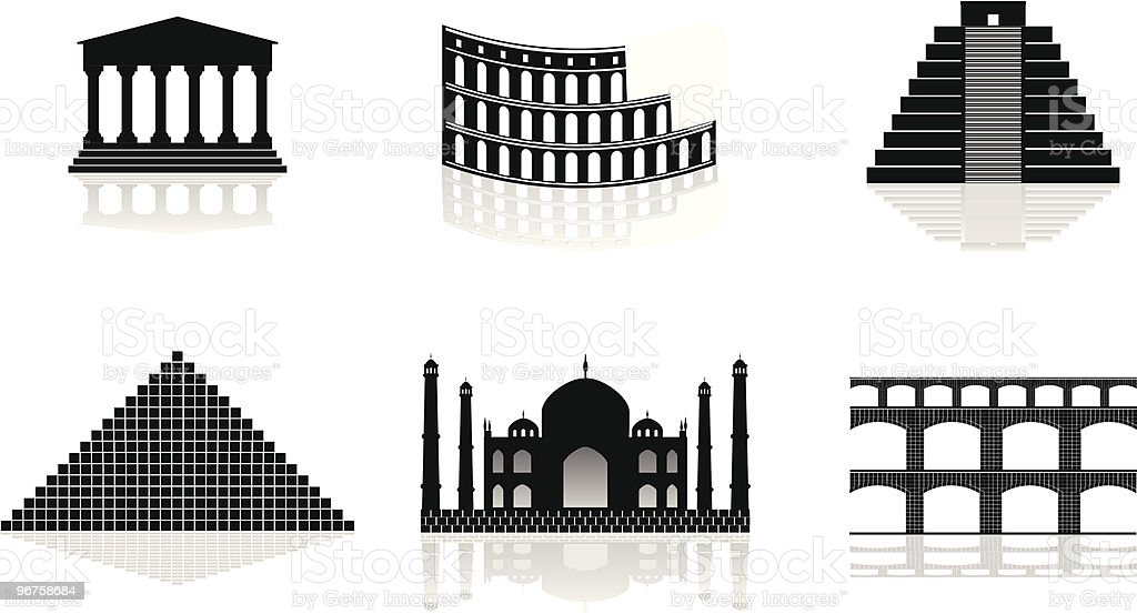 historical monuments vector illustrations vector art illustration