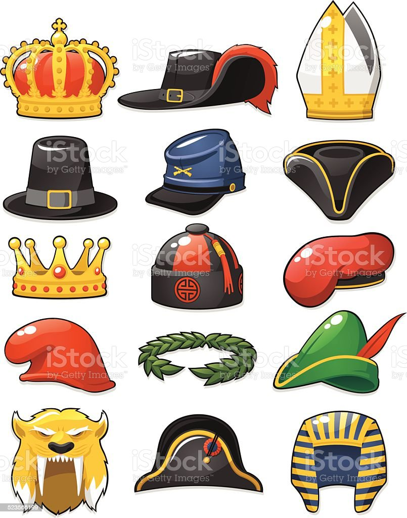 Historical_Hats_set vector art illustration