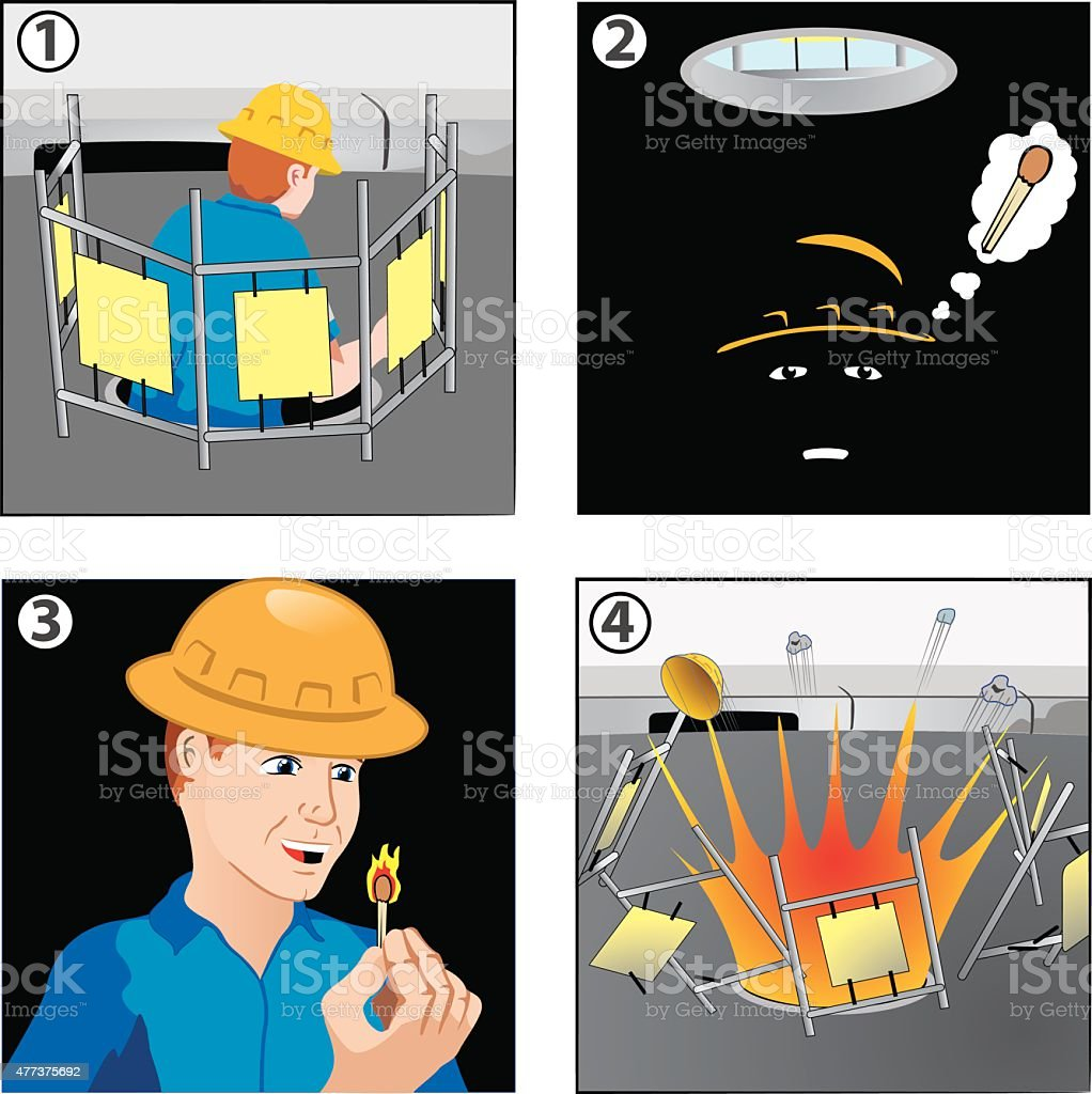 history in comic work safety vector art illustration