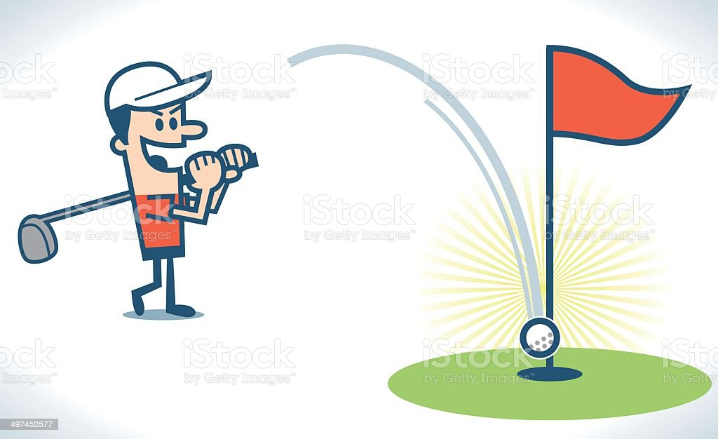 Hit a hole in one vector art illustration