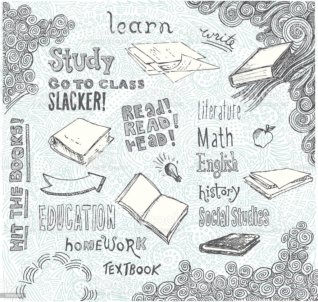 Hit the Books Doodle vector art illustration