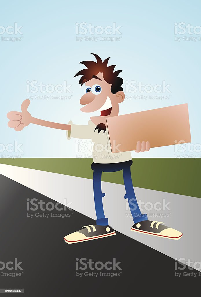 Hitch Hiker Vector Cartoon vector art illustration