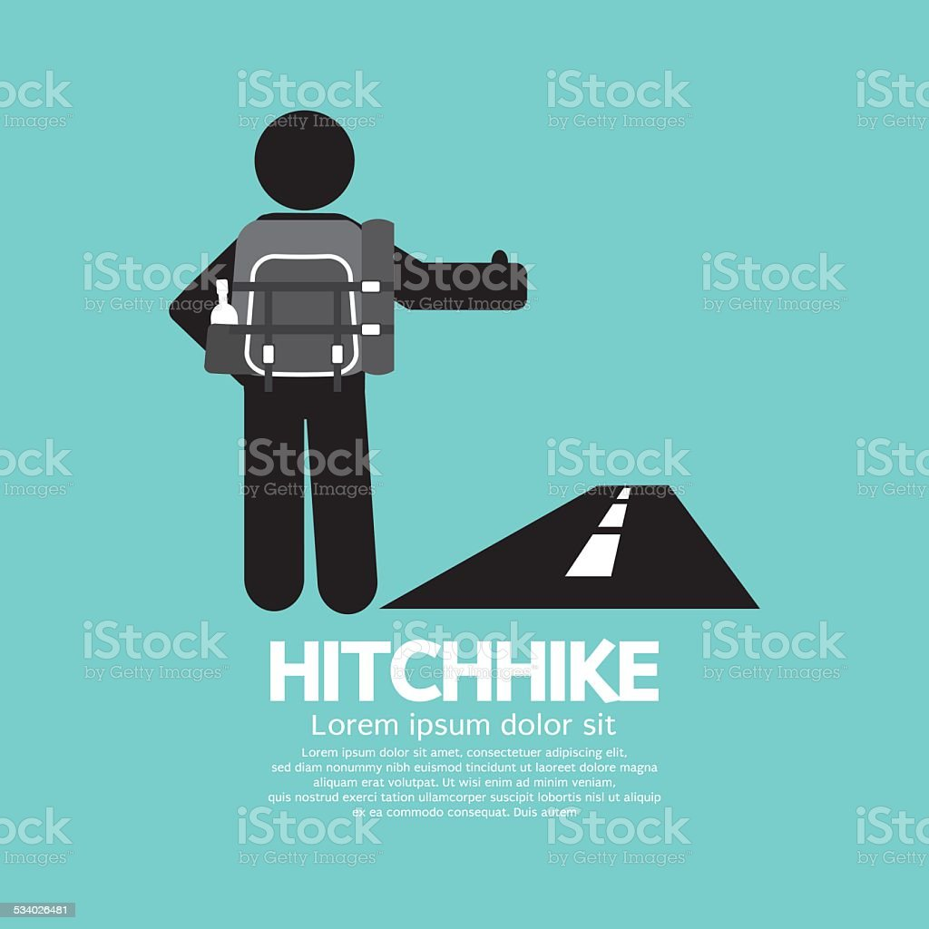 Hitchhike Tourist Symbol vector art illustration