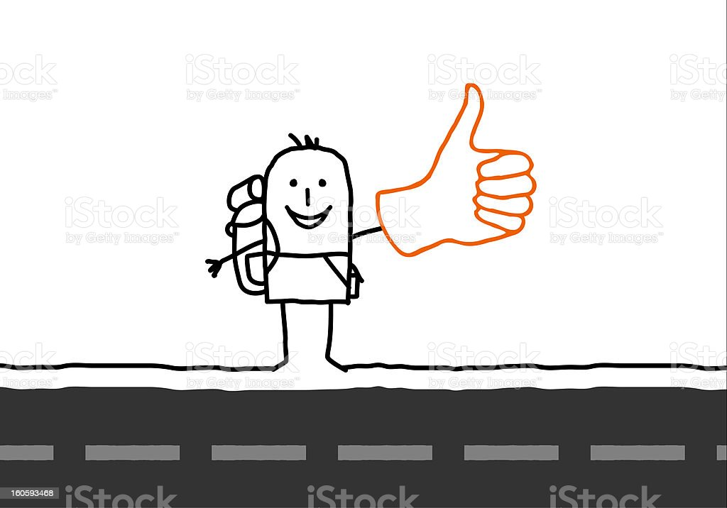 Hitchhiker on the road vector art illustration