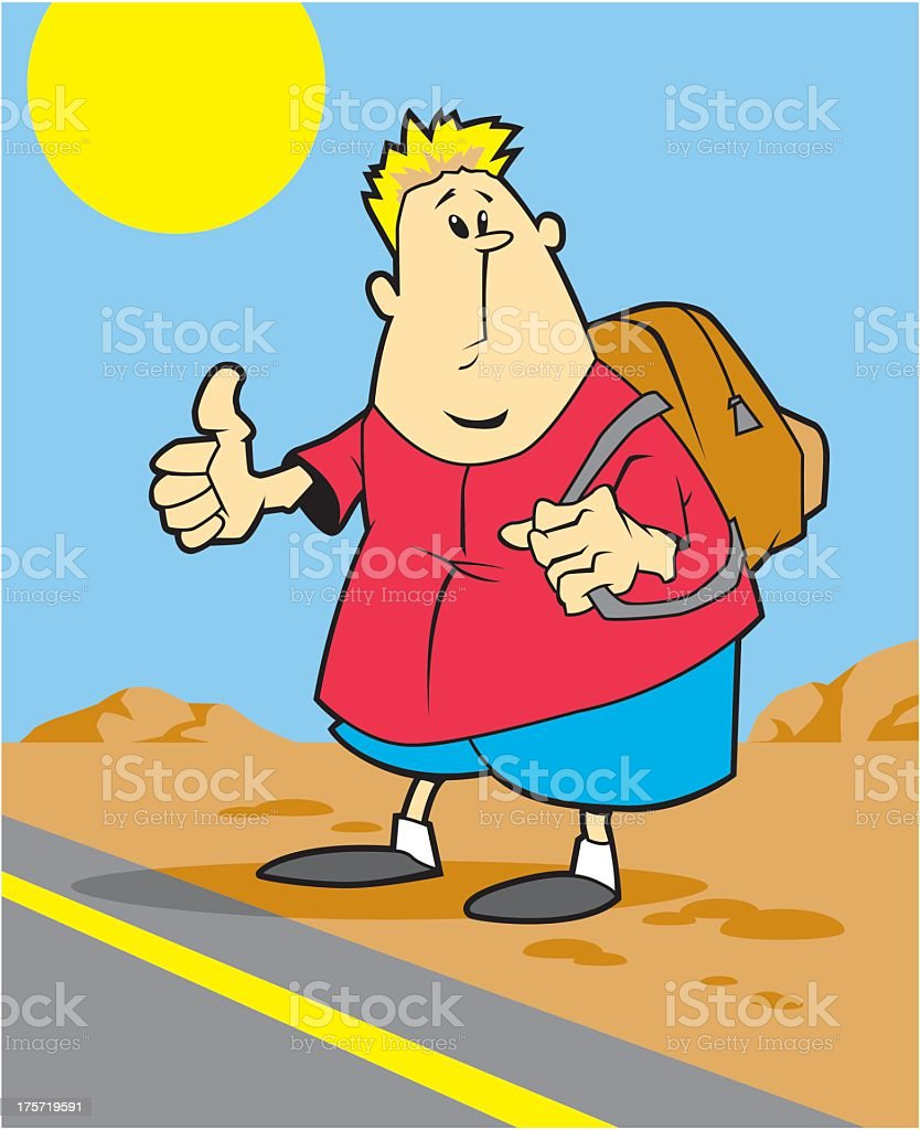 Hitchhiker vector art illustration