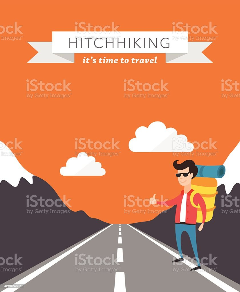 Hitchhiking flat vector background vector art illustration