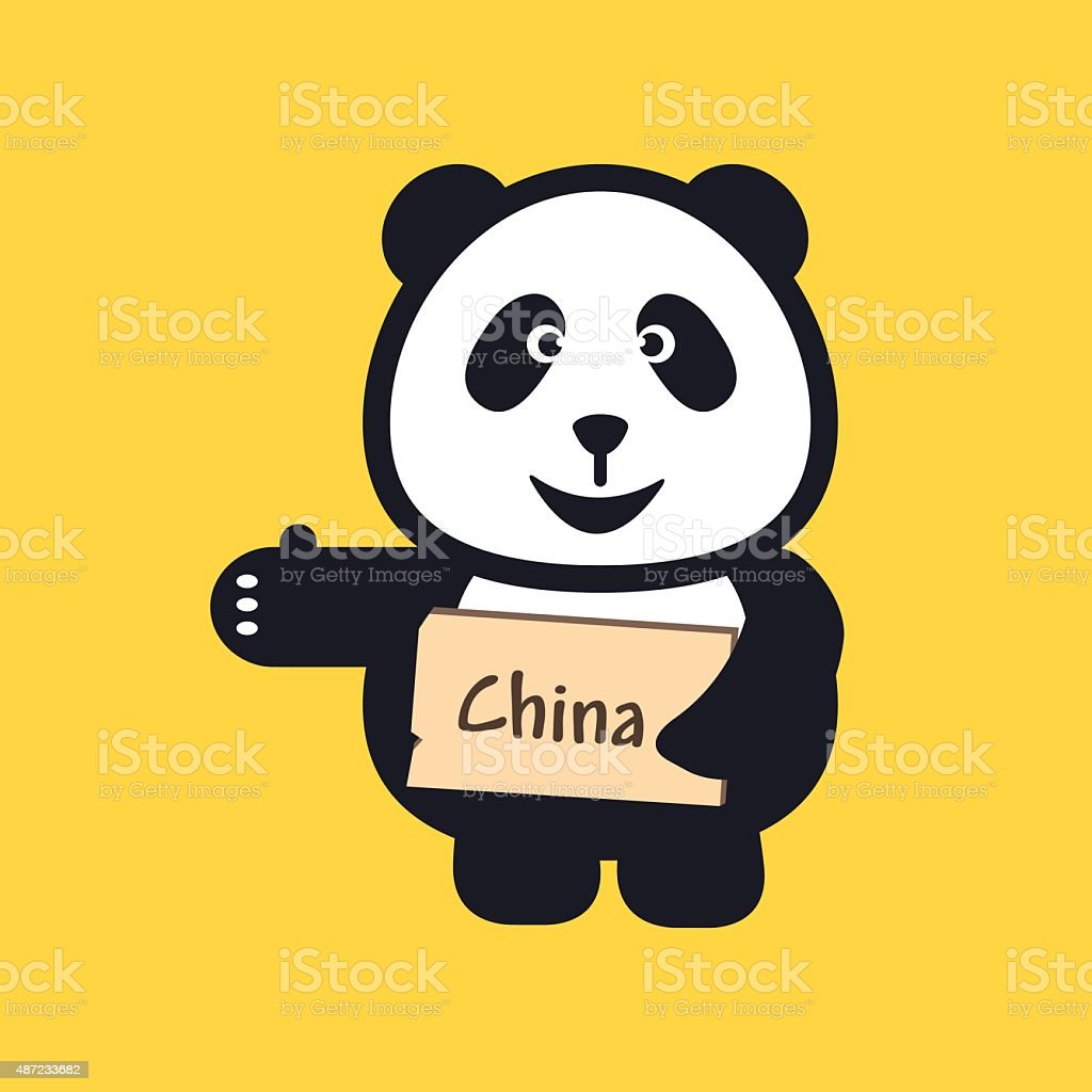 hitchhiking Panda holding thumbs up and trying to stop car. vector art illustration