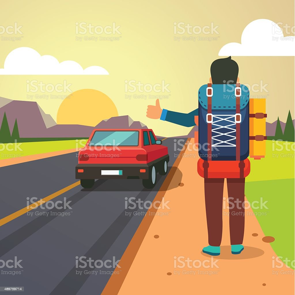 Hitchhiking road travel. Thumbing man stopped car vector art illustration