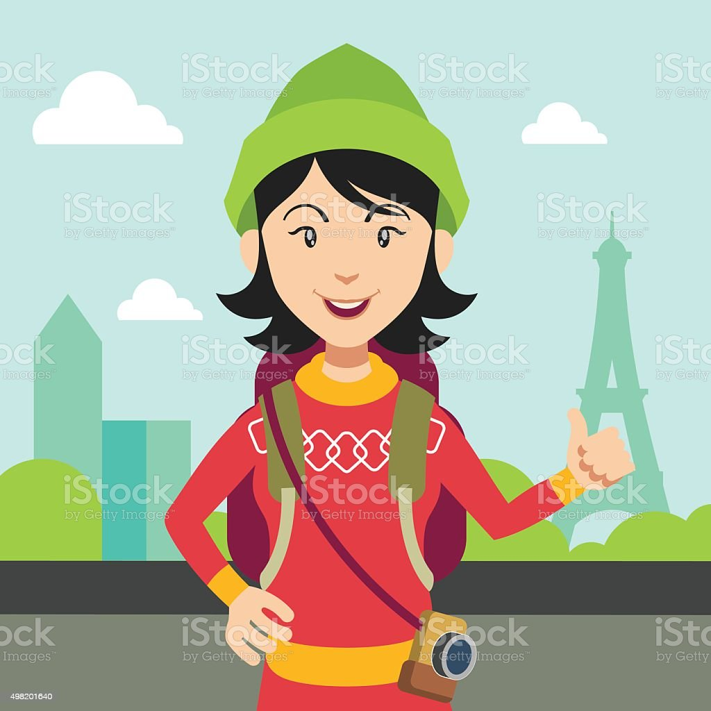 Hitchhiking tourism concept. Vector flat illustration vector art illustration