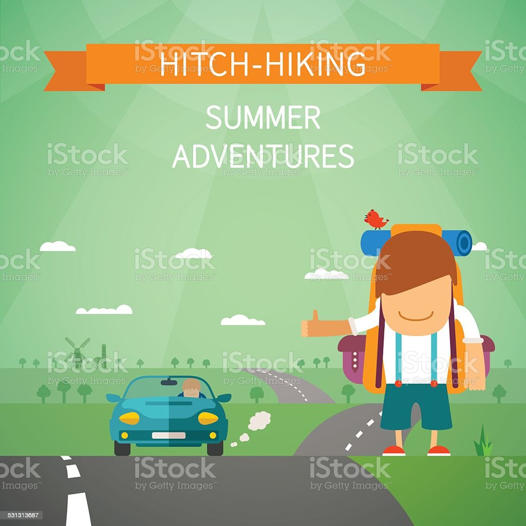 Hitchhiking vector concept vector art illustration