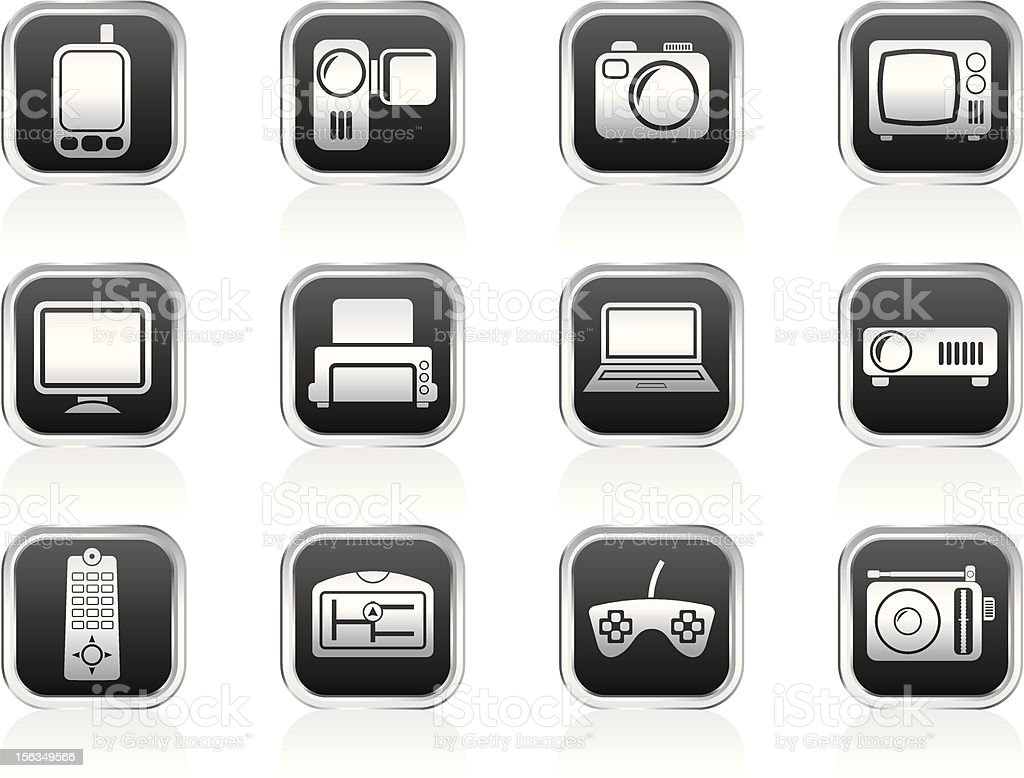 Hi-tech technical equipment icons royalty-free stock vector art