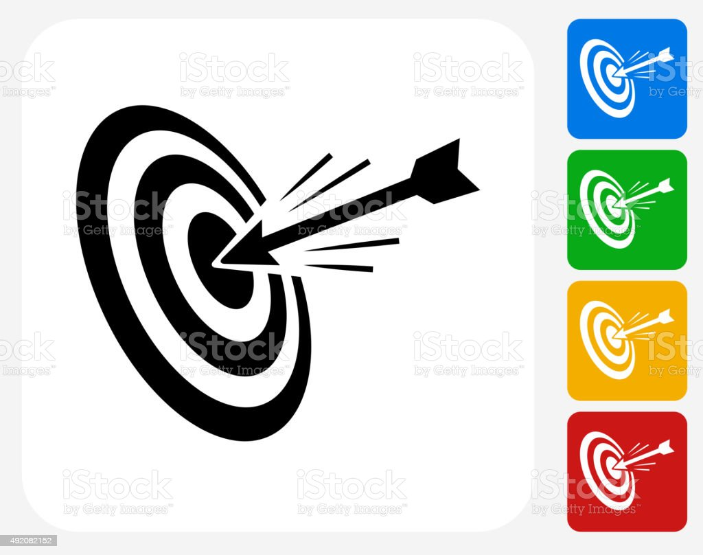 Hitting Target Icon Flat Graphic Design vector art illustration