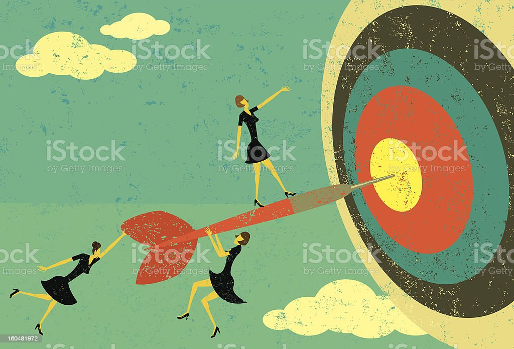 Hitting the bull's eye royalty-free stock vector art