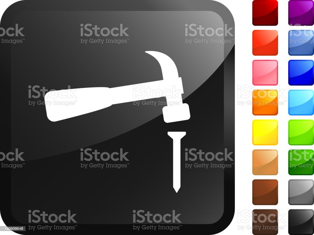 hitting the nail on its head sticker icon vector art illustration