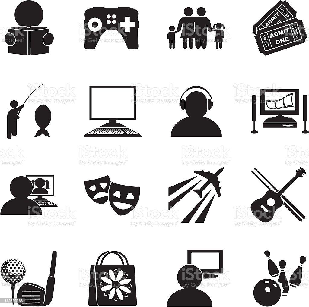 Hobbies Icon Set vector art illustration