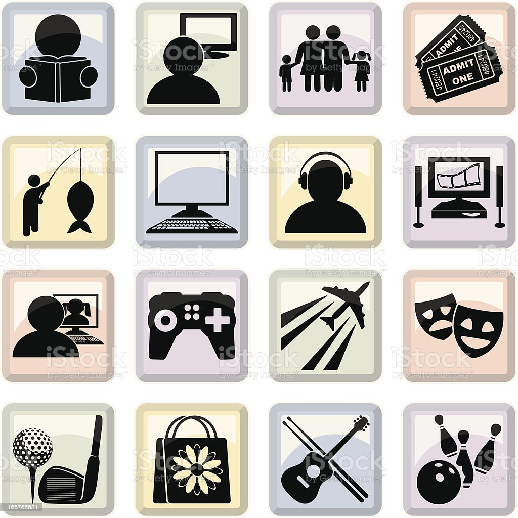Hobbies Icons royalty-free stock vector art