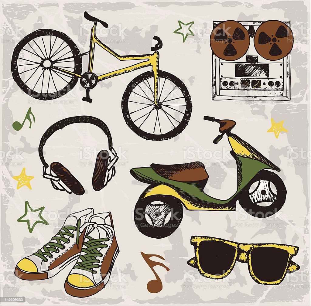 Hobbies of young people royalty-free stock vector art