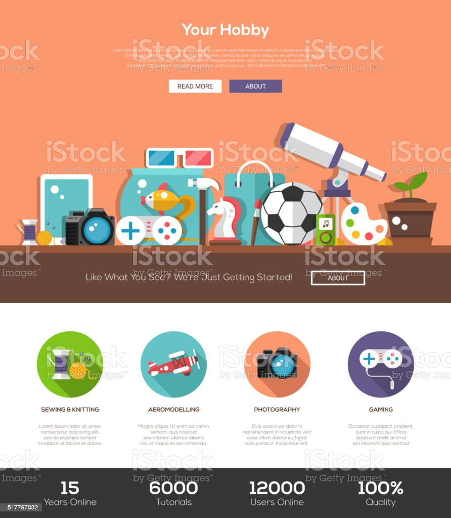 Hobbies website template with header and icons vector art illustration