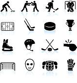 hockey black and white royalty free vector icon set