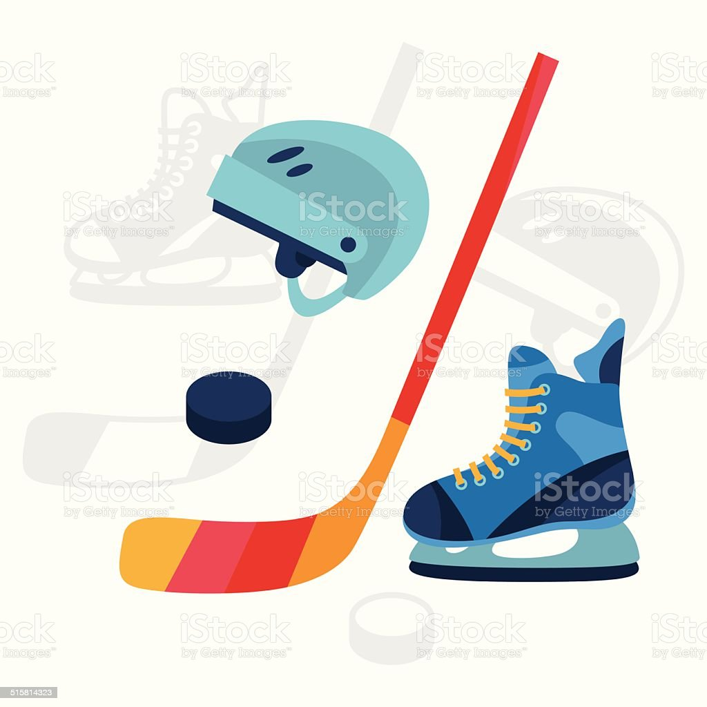 Hockey equipment icons set in flat design style. vector art illustration