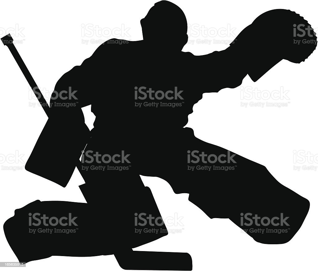 Hockey Glove Save Silhouette royalty-free stock vector art