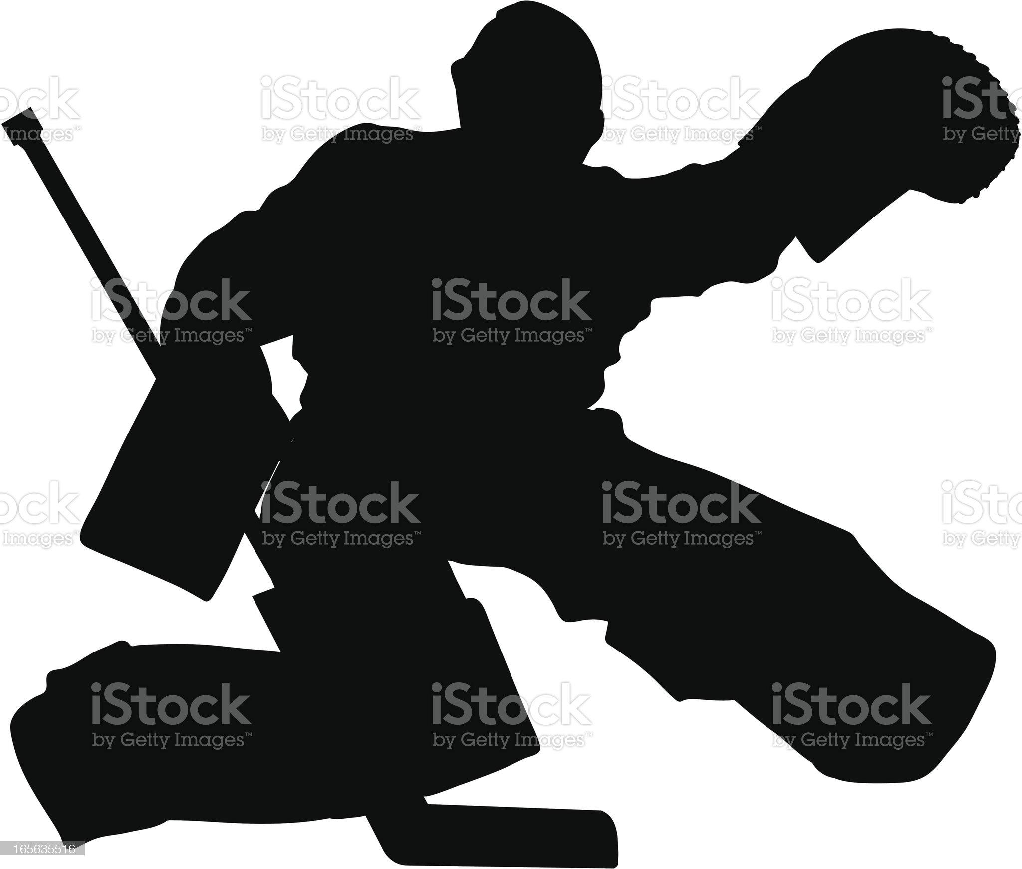 Hockey Glove Save Silhouette royalty-free stock vector art