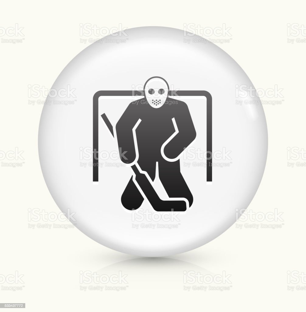 Hockey Goalie icon on white round vector button vector art illustration