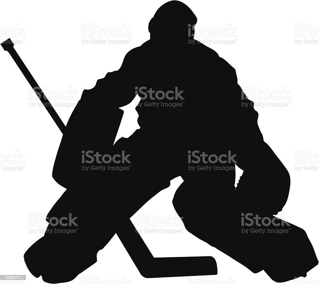 Hockey Goalie Slhouette vector art illustration