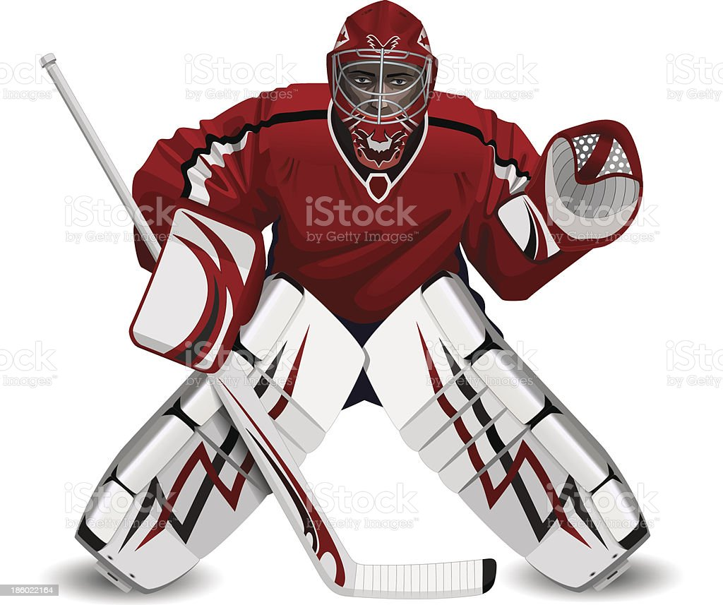 hockey goalie with a stick vector art illustration