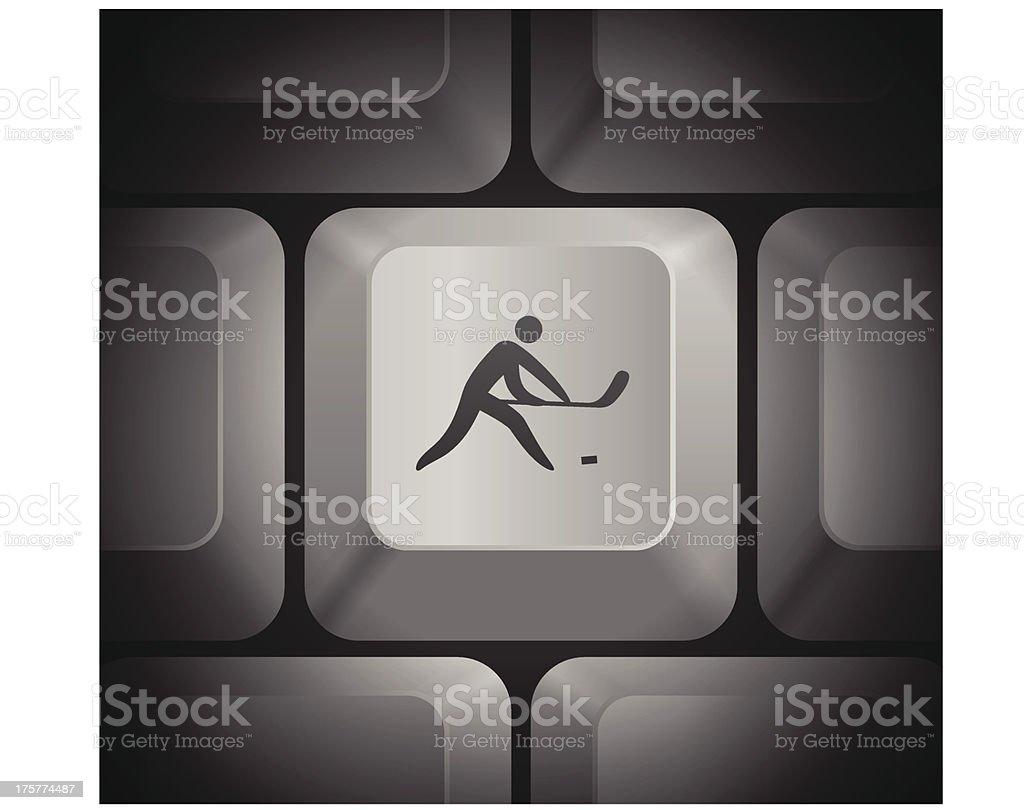 Hockey Icon on Computer Keyboard royalty-free stock vector art