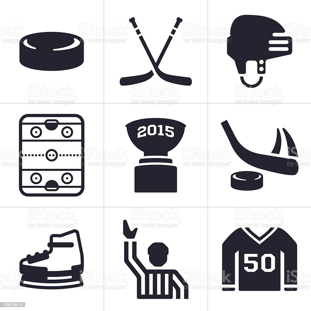 Hockey Icons and Symbols vector art illustration