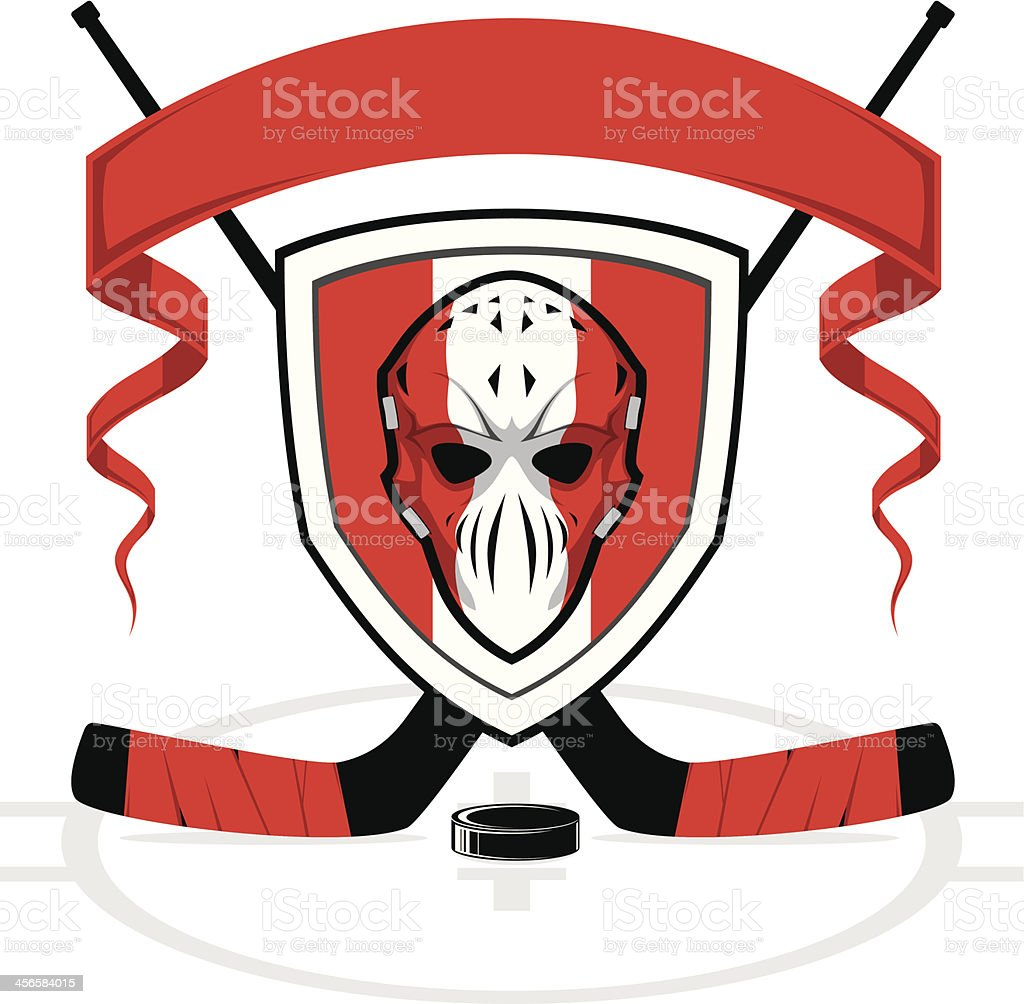 Hockey logo template in red and white royalty-free stock vector art