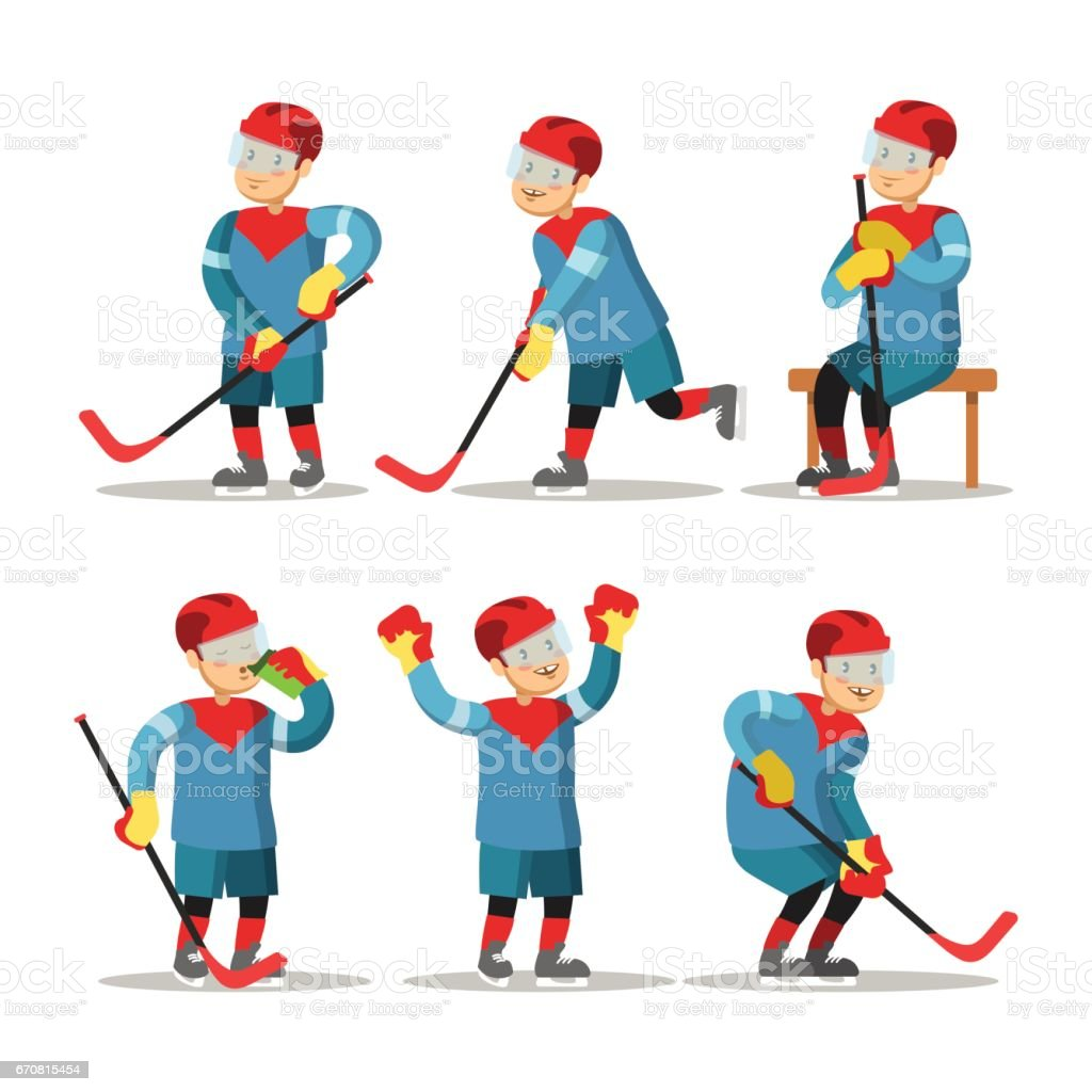 Hockey Player Cartoon. Winter Sports. Vector character illustration