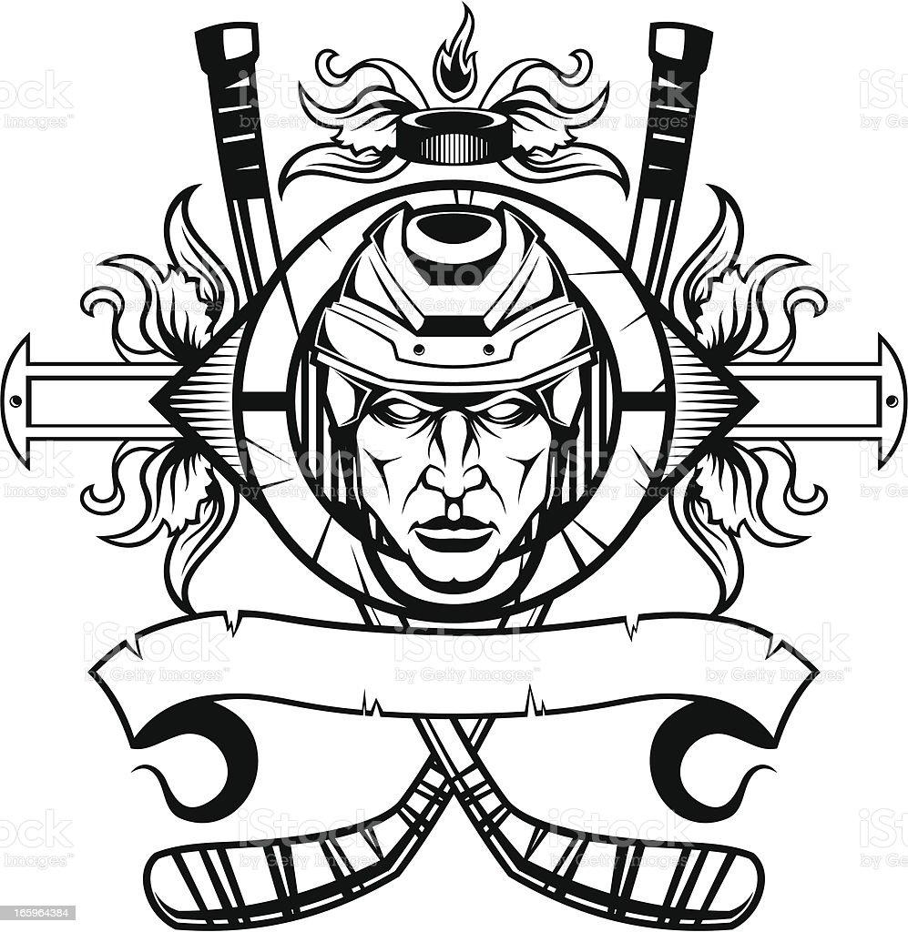 Hockey player emblem royalty-free stock vector art