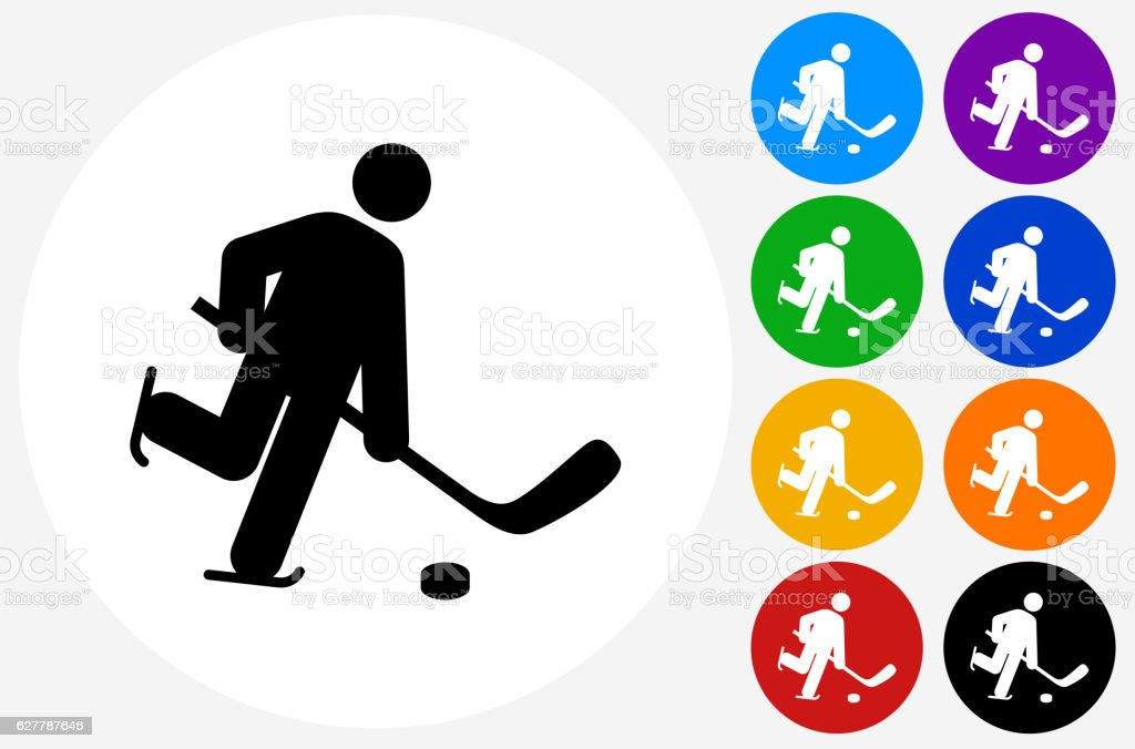 Hockey Player Icon on Flat Color Circle Buttons vector art illustration