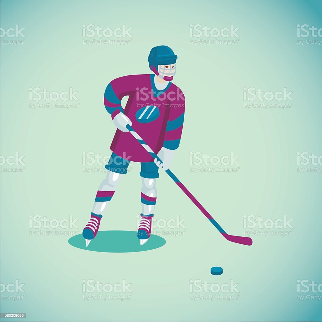 Colored cartoon illustration with a hockey player. Isolated sports...