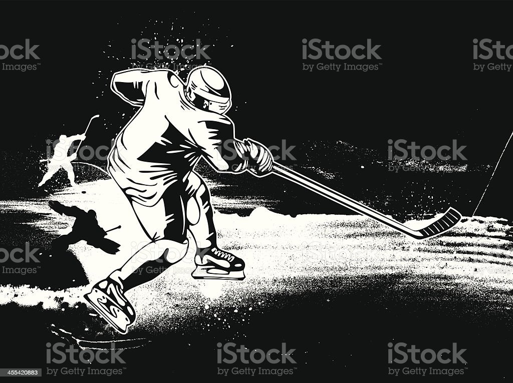 Hockey player skating on ice with stick b&w vector image royalty-free stock vector art