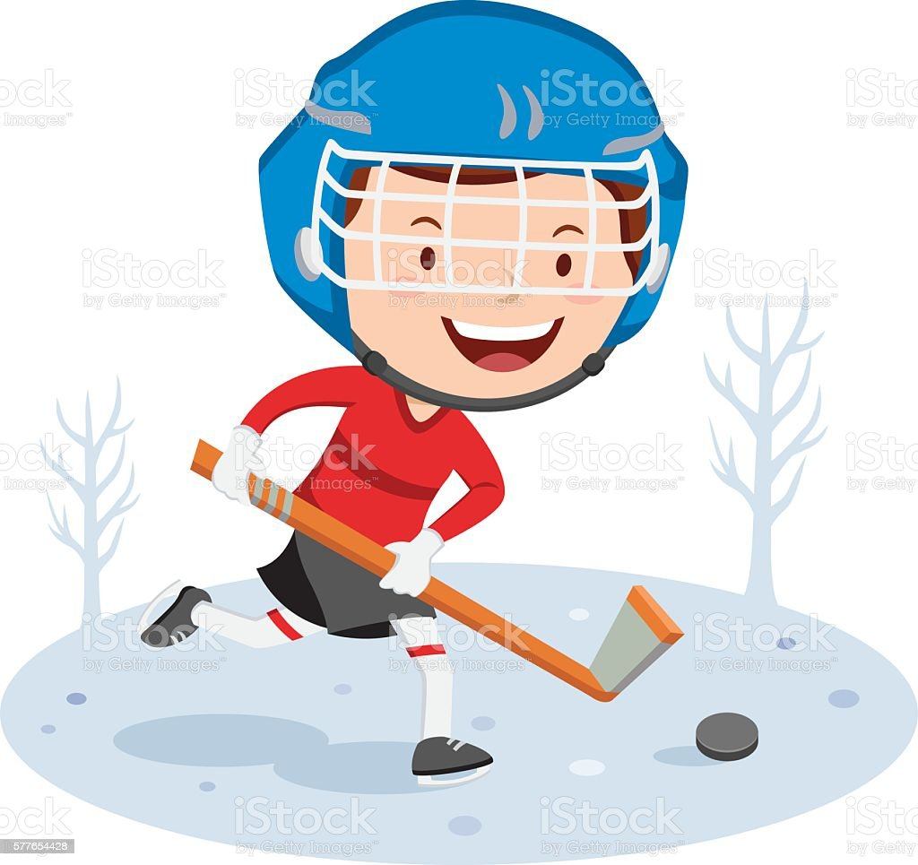 Vector illustration of a happy boy playing ice hockey.