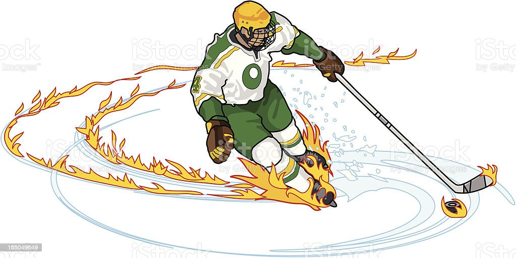Hockey Player with Flame Trail royalty-free stock vector art